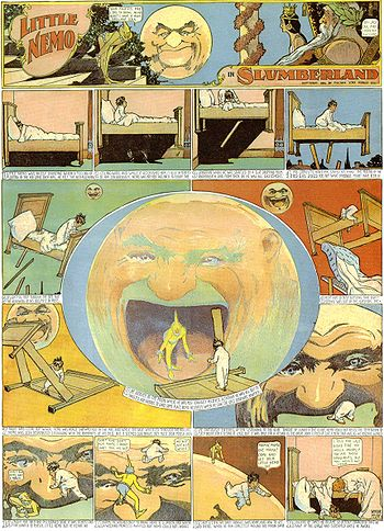 Winsor McCay's Little Nemo, one of the earliest and best known Sunday strips, combined animated sequences spread over panel rows, a heightened use of perspective and imaginative dream-like plots.