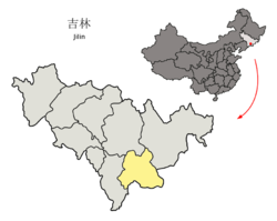Location of Baishan City (yellow) in Jilin (light grey) and China