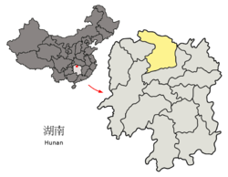 Location of Changde jurisdiction in Hunan
