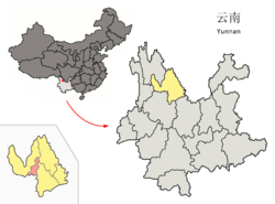 Location of Gucheng District (pink) and Lijiang prefecture (yellow) within Yunnan province of China