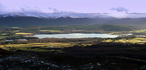 Battle of Dun Nechtain - Loch Insh, possible site of Linn Garan. Dunachton is to the right of the photograph