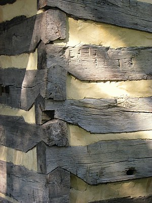 Log Cabin (University of Pittsburgh) - Details of one of the cabin's corner joints