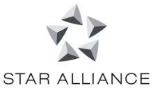 "Logo with five pyramids over ""Star Alliance"""
