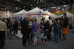 Science-fiction convention - Fans socializing at Worldcon 2014.