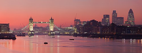 Tower Bridge and the City of London, London