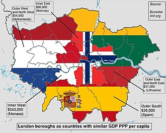 Economy of London - London boroughs as countries with similar GDP PPP per capita