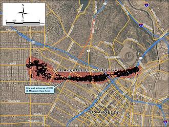 Los Angeles City Oil Field - Detail of the Los Angeles City Field, showing locations of former wells, and single active well remaining in 2011.