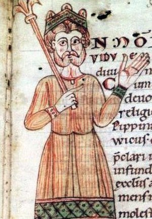 Lothair II, Holy Roman Emperor - Portrait of Lothair in the Codex Eberhardi, Fulda monastery 1150/60