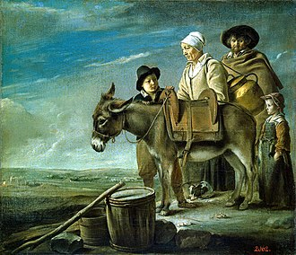 Adoration of the Shepherds (Le Nain) - The Milkmaid's Family, a more typical Le Nain painting thought to date to 1641, with similar donkey.