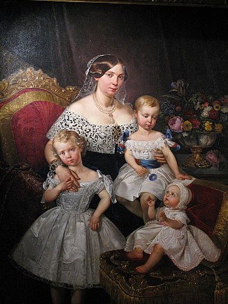 Louise Marie Thérèse of Artois - Image: Louise Marie Thérèse d'Artois, Duchess of Parma with her three children in 1849 by Raffi Prosper