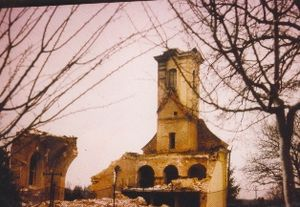 Lovas killings - Destroyed church in Lovas, October 1991