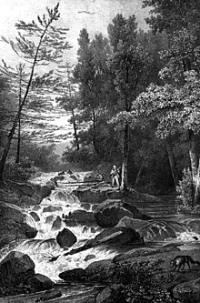 A black and white illustration showing a rocky cascade in a wooded brook with a hunter on its right side