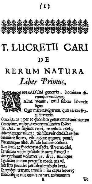 English: Book 1, page 1, of De Rerum Natura by...