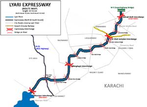 Lyari Expressway, Karachi, Pakistan - ROUTE MAP