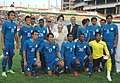 M.S. Gill, the Minister for Civil Aviation, Shri Praful Patel and the Chief Minister of Delhi, Smt. Sheila Dikshit with the Indian Football Team at the inauguration of the 2nd ONGC Nehru Cup Football Tournament 2009.jpg