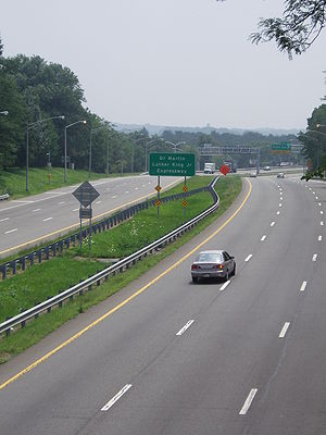 New York State Route 440 - The Dr. Martin Luther King Jr. Expressway, southbound, from Walker Street.