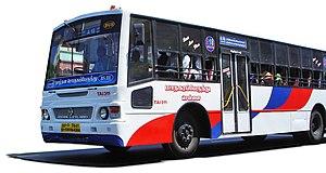 A white line bus