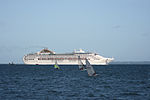 MV Oceana passing Calshot Spit light.JPG