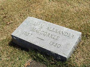 William A. MacCorkle - Image: Mac Corkle Grave Apr 2009