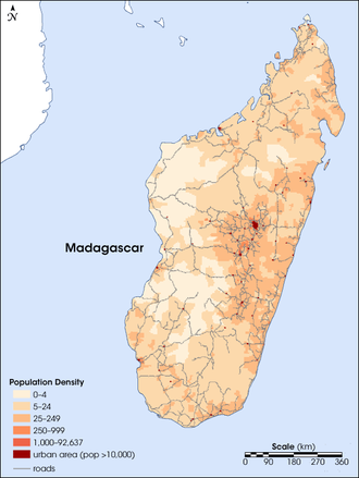 Demographics of Madagascar - Population density of Madagascar as of 2004