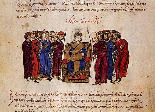 Proclamation of Leo as emperor, miniature from the Madrid Skylitzes MadridSkylitzesFol12vDetail.jpg