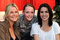 Maeve Quinlan, U.S. Army Spc. Rebecca Cofield, and Christy Carlson Romano at Camp As Sayliyah, Qatar.jpg