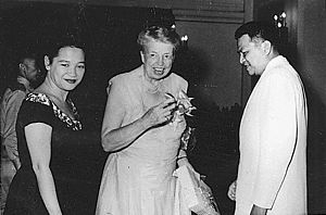 Ramon Magsaysay - Eleanor Roosevelt with President Ramon Magsaysay and then First Lady Luz Magsaysay of the Philippines in Manila
