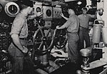 Main engine room aboard USS San Juan (CL-54), during World War II.jpg