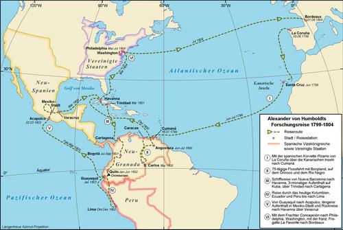 Verlauf der Amerikareise (Quelle: Wikimedia)