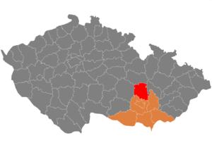 Vị trí huyện Blansko trong vùng Nam Moravia trong Cộng hòa Séc