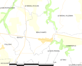 Mapa obce Beauchamps