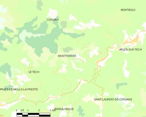 Montferrer - Map of Montferrer and its surrounding communes