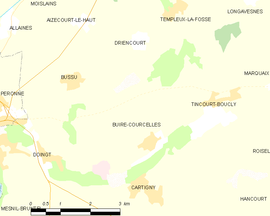 Mapa obce Buire-Courcelles