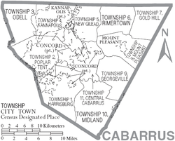 Map of Cabarrus County North Carolina With Municipal and Township Labels.PNG
