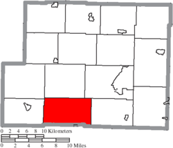 Location of Moorefield Township in Harrison County