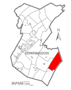 Map of Huntingdon County, Pennsylvania Highlighting Tell Township.PNG