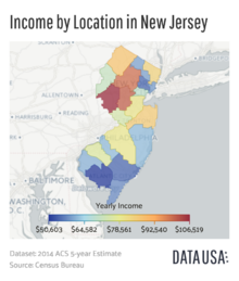 Map of Income by Location in New Jersey