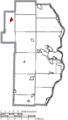 Map of Jefferson County Ohio Highlighting Bergholz Village.png