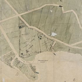 First known map of Kirribilli, a subdivision map by Robert Campbell detail showing the Jeffrey Street area