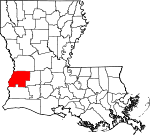 State map highlighting Beauregard Parish