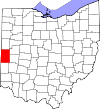 State map highlighting Darke County