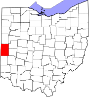 Kort over Ohio med Darke County markeret