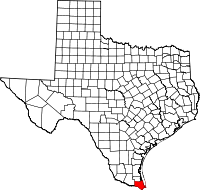 Map of Texas highlighting Cameron County