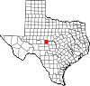 State map highlighting Concho County