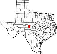 Map of Тексас highlighting Concho County