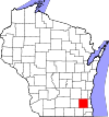 State map highlighting Waukesha County