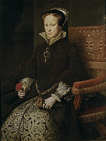 A formal seated portrait in the Spanish style of Mary I. She has a sallow fleshy face with reddish-brown hair and light eyes. Her mouth is firmly set and her eyes wary. She wears a dress of fine dark brown fur over a brocade underskirt heavily patterned in the Florentine style. Her cap is bordered with jewels and pearls. Much of her jewellery is grey pearls. She holds a pair of kid gloves and a rose.