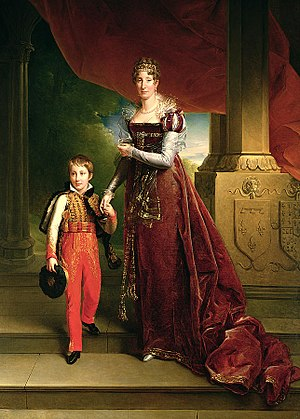 Ferdinand Philippe, Duke of Orléans - Ferdinand Philippe with his mother in 1819. His parents' coats of arms can be seen on the column. Painting by Louis Joseph Noyal