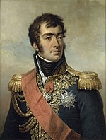 Painting of a clean-shaven man with dark hair and long sideburns. He wears a dark blue military uniform with gold epaulettes, high collar, elaborate lace, two medals and a velvet red sash.