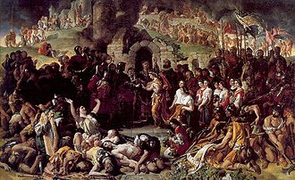 Norman invasion of Ireland - The Marriage of Strongbow and Aoife (1854), by Daniel Maclise, represents the Norman conquest of Ireland and the marriage of the Anglo-Norman lord Strongbow to the Irish princess Aoife.